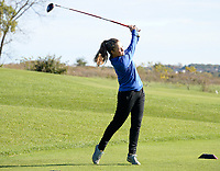 Janesville Craig's Kallie Lux tees off on No. 1 during the Wisconsin WIAA state girls high school golf tournament on Monday, 10/14/19 at University Ridge Golf Course