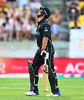Blackcaps Colin De Grandhomme reacts as he goes out cheaply during the third ODI cricket match between the Blackcaps & England at Westpac stadium, Wellington. 3rd March 2018. © Copyright Photo: Grant Down / www.photosport.nz