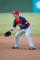 Hagerstown Suns first baseman Matthew Page (36) on defense against the Kannapolis Intimidators at Intimidators Stadium on July 18, 2015 in Kannapolis, North Carolina.  The Intimidators defeated the Suns 1-0.  (Brian Westerholt/Four Seam Images)