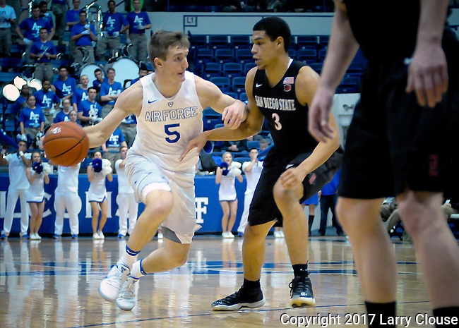 January 24, 2017:  Air Force guard, Zach Kocur #5, at the top of key during the NCAA basketball game between the San Diego State Aztecs and the Air Force Academy Falcons, Clune Arena, U.S. Air Force Academy, Colorado Springs, Colorado.  Air Force defeats San Diego State 60-57.