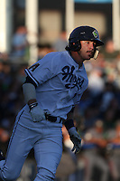 First overall draft pick in the 2015 Major League Baseball Player Draft, Dansby Swanson (7) of the Hillsboro Hops runs to first base during a game against the Boise Hawks at Ron Tonkin Field on August 21, 2015 in Hillsboro, Oregon. Boise defeated Hillsboro, 7-1. (Larry Goren/Four Seam Images)