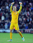 Manchester City goalkeeper Joe Hart thanks the fans at the end of the game<br /> - Barclays Premier League - Southampton vs Manchester City - St Mary's Stadium - Southampton - England - 30th November 2014 - Pic Robin Parker/Sportimage