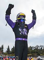 Feb 9, 2020; Pomona, CA, USA; NHRA funny car driver Jack Beckman celebrates after winning the Winternationals at Auto Club Raceway at Pomona. Mandatory Credit: Mark J. Rebilas-USA TODAY Sports