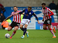 Lincoln City's Neal Eardley vies for possession with Crewe Alexandra's Alex Nicholls, with Matt Green looking to pounce on the loose ball<br /> <br /> Photographer Andrew Vaughan/CameraSport<br /> <br /> The EFL Sky Bet League Two - Lincoln City v Crewe Alexandra - Saturday 6th October 2018 - Sincil Bank - Lincoln<br /> <br /> World Copyright &copy; 2018 CameraSport. All rights reserved. 43 Linden Ave. Countesthorpe. Leicester. England. LE8 5PG - Tel: +44 (0) 116 277 4147 - admin@camerasport.com - www.camerasport.com