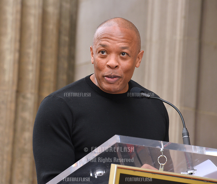 LOS ANGELES, CA. November 19, 2018: Dr Dre at the Hollywood Walk of Fame Star Ceremony honoring Snoop Dogg.<br /> Pictures: Paul Smith/Featureflash