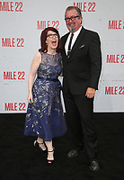9 August 2018-  Westwood, California - Kate Flannery, Chris Haston. Premiere Of STX Films' &quot;Mile 22&quot; held at The Regency Village Theatre. <br /> CAP/MPIFS<br /> &copy;MPIFS/Capital Pictures