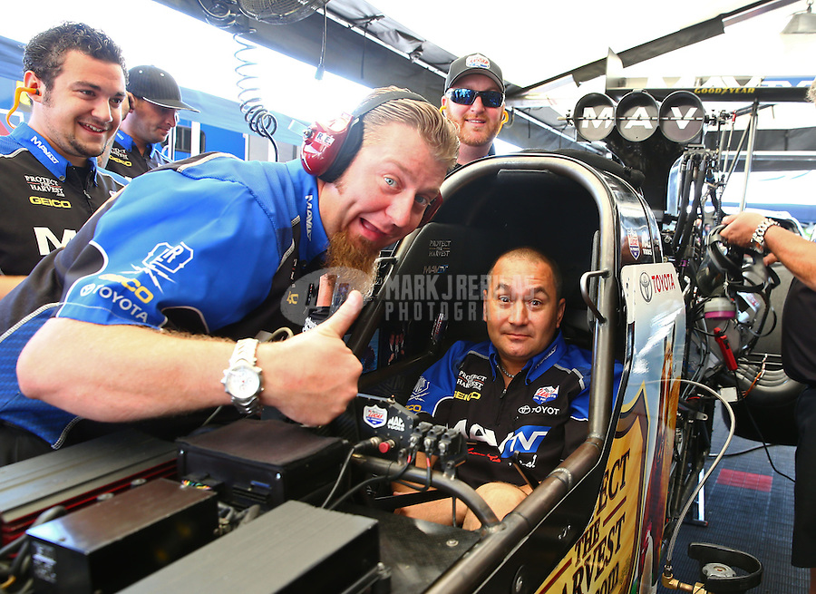 Jun. 2, 2013; Englishtown, NJ, USA: NHRA crew members for top fuel dragster driver Brandon Bernstein during the Summer Nationals at Raceway Park. Mandatory Credit: Mark J. Rebilas-