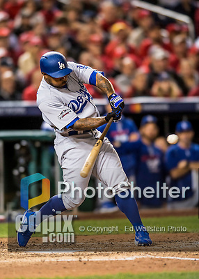 13 October 2016: Los Angeles Dodgers outfielder Howie Kendrick singles in the 7th inning of the NLDS Game 5 against the Washington Nationals at Nationals Park in Washington, DC. The Dodgers edged out the Nationals 4-3, to take Game 5, and the Series, 3 games to 2, moving on to the National League Championship against the Chicago Cubs. Mandatory Credit: Ed Wolfstein Photo *** RAW (NEF) Image File Available ***
