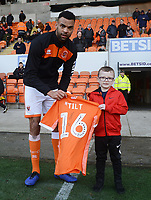 Blackpool's Curtis Tilt presents a shirt<br /> <br /> Photographer Kevin Barnes/CameraSport<br /> <br /> The EFL Sky Bet League One - Blackpool v Walsall - Saturday 9th February 2019 - Bloomfield Road - Blackpool<br /> <br /> World Copyright © 2019 CameraSport. All rights reserved. 43 Linden Ave. Countesthorpe. Leicester. England. LE8 5PG - Tel: +44 (0) 116 277 4147 - admin@camerasport.com - www.camerasport.com