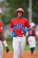 Yasser Mercedes (8) rounds the bases after hitting a home run during the Dominican Prospect League Elite Florida Event at Pompano Beach Baseball Park on October 14, 2019 in Pompano beach, Florida.  (Mike Janes/Four Seam Images)