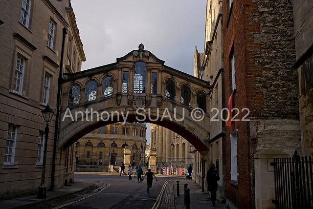 """Oxford University<br /> Oxford, United Kingdom<br /> November 30, 2018<br /> <br /> Hertford Bridge, often called """"the Bridge of Sighs"""", is a skyway joining two parts of Hertford College over New College Lane."""