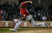 Raul Carrillo pitcher relevo de los mayos, durante juego de beisbol de la Liga Mexicana del Pacifico temporada 2017 2018. Tercer juego de la serie de playoffs entre Mayos de Navojoa vs Naranjeros. 04Enero2018. (Foto: Luis Gutierrez /NortePhoto.com)