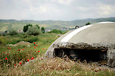 Bunker bei Pogradec am Ohridsee in  Albanien ,  am 05.06.2008 . Travel Reise Europa Balkan Suedosteuropa Osteuropa Albania Urlaub Blumen Mohn Feld Landwirtschaft Botanik Ohrid See Lake .