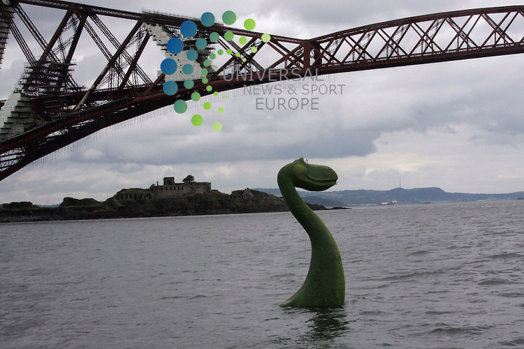 The Loch Ness Monster, Nessy,  makes a visit to the Firth of Forth to promote the Monster Challenge, a team relay 120km race around Loch Ness, to take place on 12/09/09..Picture taken 23/07/09 by Jim Carroll