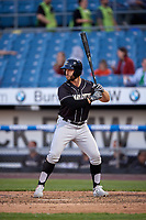Charlotte Knights Daniel Palka (7) bats during an International League game against the Syracuse Mets on June 11, 2019 at NBT Bank Stadium in Syracuse, New York.  Syracuse defeated Charlotte 15-8.  (Mike Janes/Four Seam Images)