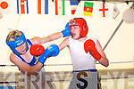 Tommy Harty (Rathkeale) (blue) in action with Mcauley (Burnley) in the Cashen Vale Boxing Club,Ballybunion Boxing tourement on Saturday at JD Ballybunion.