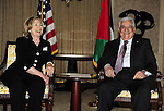 Palestinian President Mahmoud Abbas (Abu Mazen) meets with U.S. Secretary of State Hillary Clinton in Washington DC on August 31,2010. Photo by Omar Rashidi