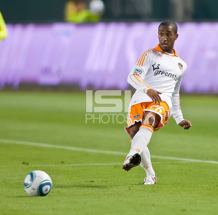 CARSON, CA – July 23, 2011: Houston Dynamo defender Corey Ashe (26) during the match between Chivas USA and Houston Dynamo at the Home Depot Center in Carson, California. Final score Chivas USA 3, Houston Dynamo 0.