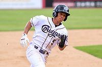Kane County Cougars outfielder Gabriel Maciel (5) rounds third base during a Midwest League game against the Quad Cities River Bandits on July 1, 2018 at Northwestern Medicine Field in Geneva, Illinois. Quad Cities defeated Kane County 3-2. (Brad Krause/Four Seam Images)