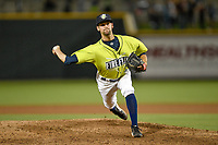 Closing pitcher Stephen Villines (40) of the Columbia Fireflies earned the save in a game against the Greenville Drive on Friday, May 25, 2018, at Spirit Communications Park in Columbia, South Carolina. Columbia won, 3-1. (Tom Priddy/Four Seam Images)