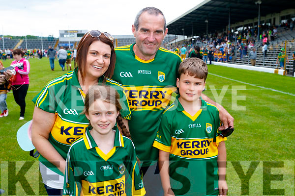 Michelle O'Shea, Sarah O'Connor, Michael O'Shea and Dylan O'Connor, Keel, pictured at the Kerry v Clare Munster semi-final at Fitzgerald Stadium, Killarney on Sunday last.