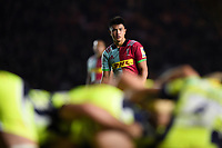 Marcus Smith of Harlequins watches a scrum. Aviva Premiership match, between Harlequins and Sale Sharks on October 6, 2017 at the Twickenham Stoop in London, England. Photo by: Patrick Khachfe / JMP