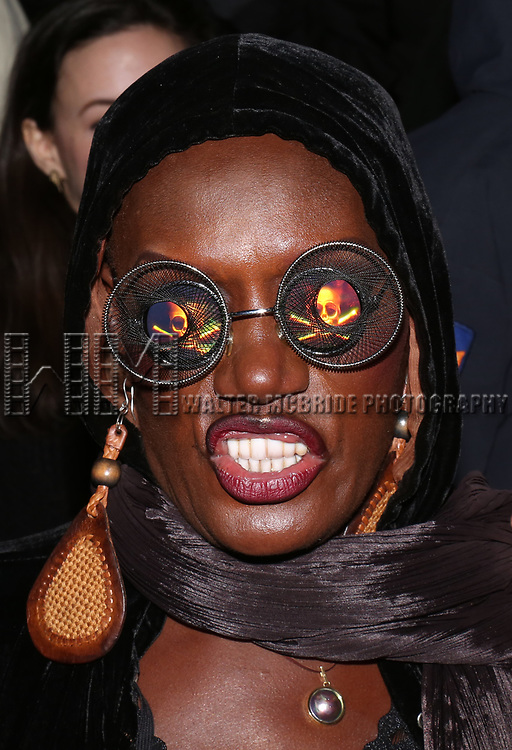 Grace Jones greets fans while appearing in person after a screening of her film 'Grace Jones: Floodlight and Bami' directed by Sophie Fiennes at the Walter Reade Theatre on April 14, 2018 in New York City