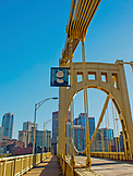 2015; USA; Pennsylvania; Pittsburgh; Steel City; Return to Pittsburgh; Marie Hennechart; Andy Warhol; Bridge; Steel Bridge;  color; Bridge; Water; River; Allegheny River; Steel; Architecture; Downtown; City; Light; Reflection; Sky; Buildings; Industrial; Construction; Metal; Old; Vertical; Skyscraper; View; Downtown Pittsburgh;