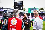 11.08.2019, Stadion an der Bremer Brücke, Osnabrück, GER, DFB Pokal, 1. Hauptrunde, VfL Osnabrueck vs RB Leipzig, DFB REGULATIONS PROHIBIT ANY USE OF PHOTOGRAPHS AS IMAGE SEQUENCES AND/OR QUASI-VIDEO<br /> <br /> im Bild | picture shows:<br /> Daniel Thioune (Trainer VfL Osnabrueck) und Julian Nagelsmann (Trainer RB Leipzig) im Interview mit dem Bezahlsender Sky direkt vor dem Spiel, <br /> <br /> Foto © nordphoto / Rauch