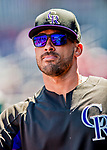 30 July 2017: Colorado Rockies outfielder Ian Desmond walks the dugout prior to a game against the Washington Nationals at Nationals Park in Washington, DC. The Rockies defeated the Nationals 10-6 in the second game of their 3-game weekend series. Mandatory Credit: Ed Wolfstein Photo *** RAW (NEF) Image File Available ***