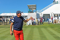 Phil Mickelson (USA) gives the crowd a thumbs up on the first tee during round 4 Singles of the 2017 President's Cup, Liberty National Golf Club, Jersey City, New Jersey, USA. 10/1/2017. <br /> Picture: Golffile | Ken Murray<br /> <br /> All photo usage must carry mandatory copyright credit (&copy; Golffile | Ken Murray)