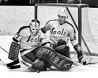 Seals goalie Gilles Meloche gets help from Ted McAneeley in blockimg shot on goal.(1974 photo/Ron Riesterer)
