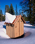 Winter top hat on the outhouse, Eastern Sierra, Mono County, California
