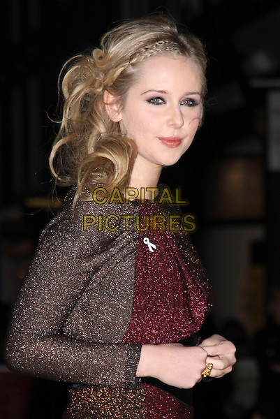 DIANA VICKERS.Turns on the South Molton & Brook Street Christmas Lights, South Molton Street, London, England, .November 17th 2009..half length switches switching on switch on brown gold sparkly red dress long sleeves sleeved colour block lurex plaits in hair braids side ring hands .CAP/AH.©Adam Houghton/Capital Pictures.