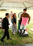 USA, Tennessee, Nashville, Iroquois Steeplechase, jockeys weigh-in before the first race of the day