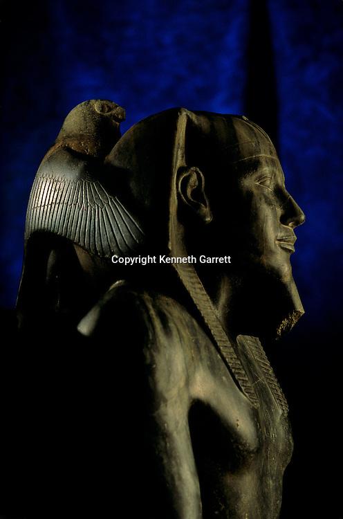 Egypt's Old Kingdom; Pharaoh Khafre with Falcon God Horus, Egyptia Museum, Cairo; statue of diorite