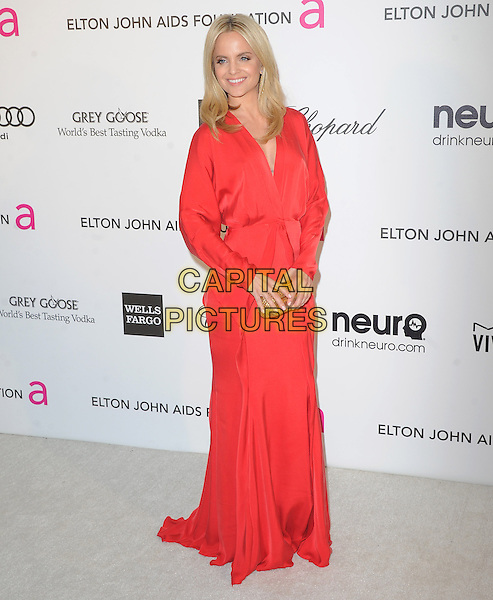 Mena Suvari.The 21st Annual Elton John AIDS Foundation Academy Awards Viewing Party held at The City of West Hollywood Park in West Hollywood, California, USA..February 24th, 2013.oscars full length red long sleeves dress gold clutch bag .CAP/DVS.©DVS/Capital Pictures.