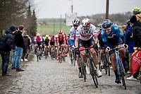 Alexander Kristoff (NOR/UAE-Emirates) fighting for position<br /> <br /> 72nd Kuurne-Brussel-Kuurne 2020 (1.Pro)<br /> Kuurne to Kuurne (BEL): 201km<br /> <br /> ©kramon