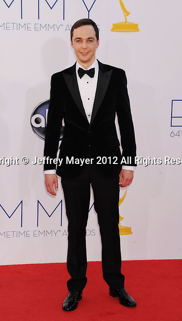 LOS ANGELES, CA - SEPTEMBER 23: Jim Parsons arrives at the 64th Primetime Emmy Awards at Nokia Theatre L.A. Live on September 23, 2012 in Los Angeles, California.