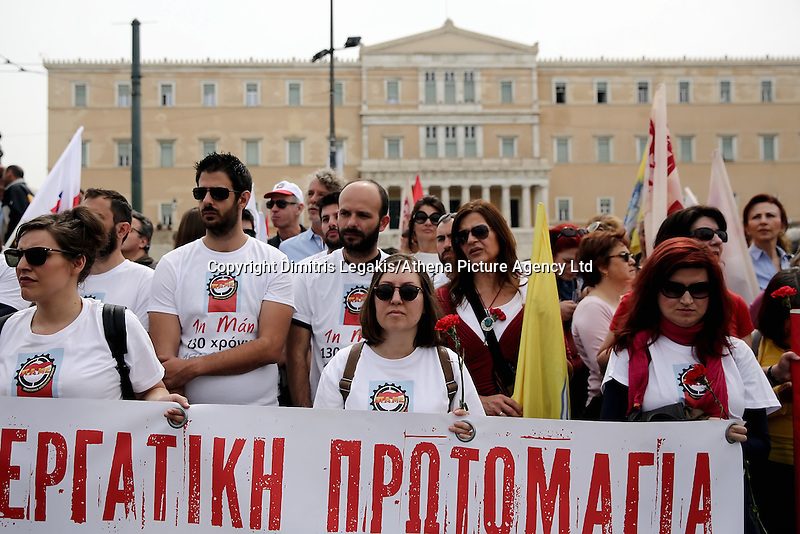 Pictured: Left wing supporters outside the Greek Parliament Sunday 08 May 2016<br /> Re: Members of left wing parties gather outside the Greek Parliament, while MPs vote on pension and welfare reforms, Athens, Greece