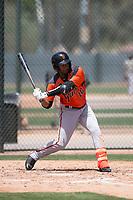 San Francisco Giants Orange outfielder Mikey Edie (10) at bat during an Extended Spring Training game against the Oakland Athletics at the Lew Wolff Training Complex on May 29, 2018 in Mesa, Arizona. (Zachary Lucy/Four Seam Images)