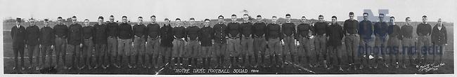 GATH mc02/03:  Football Team Panorama with Names, 1914.  .Coach Jesse Harper, Joe Pliska, Bill Kelleher, Freeman (Fitz) Fitzgerald, Alvin (Heine) Berger, George Kowalski, Eddie Duggan, Carleton Beh, John Miller, Emmett Keefe, George (Ducky) Holmes, Harry Baujan, Allen (Mal) Elward, Art (Bunny) Larkin, Alfred (Dutch) Bergman, John Voelkers, Lorenzo Rausch, Hugh O'Donnell [later University President], Hollis (Hoot) King, Art Sharpe, Gilbert (Gillie) Ward, Captain Keith (Deak/Deac) Jones [holding football], Charlie Bachman, Stan Cofall, Rupert (Rupe) Mills, James Odem, Ralph (Zipper) Lathrop, Charles (Sam) Finegan, Leo Stephan, Ray Eichenlaub, Assistant Coach Knute Rockne..Image from the University of Notre Dame Archives.