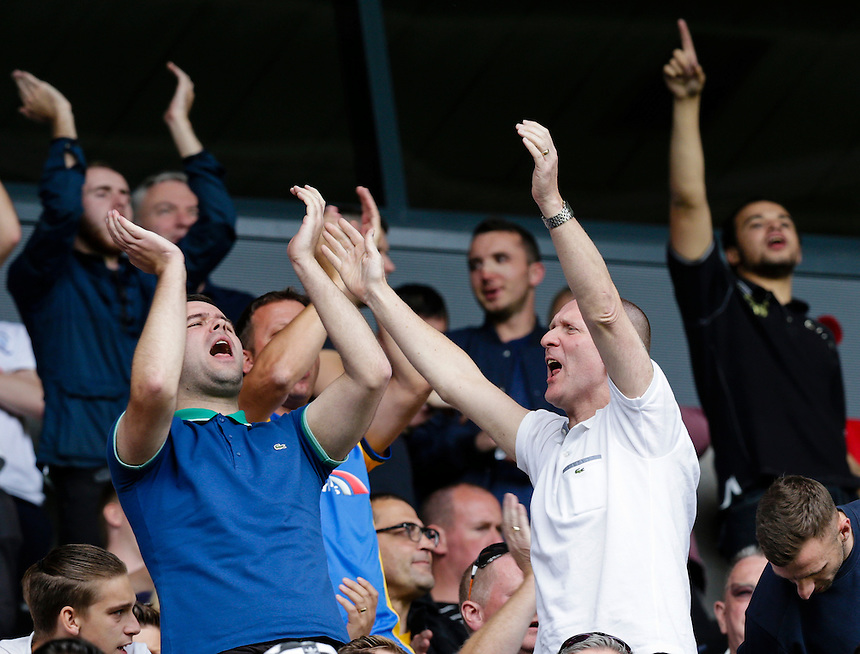 Preston North End fans enjoying themselves in the second half with their side 1-0 up<br /> <br /> Photographer Craig Mercer/CameraSport<br /> <br /> Football - The Football League Sky Bet Championship - Milton Keynes Dons v Preston North End - Saturday 15th August 2015 - Stadium:mk - Milton Keynes<br /> <br /> &copy; CameraSport - 43 Linden Ave. Countesthorpe. Leicester. England. LE8 5PG - Tel: +44 (0) 116 277 4147 - admin@camerasport.com - www.camerasport.com