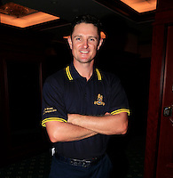 Justin Rose (ENG) wears a special US Open Champion 2013 shirt commissioned by the Royal Army Pay Corps after Friday's Round 2 of the 2014 BMW Masters held at Lake Malaren, Shanghai, China 31st October 2014.<br /> Picture: Eoin Clarke www.golffile.ie