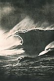 FIJI, man surfing on a big wave at Frigates Pass (B&W)