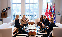 07/01/2020 - Prince Harry Duke of Sussex and Meghan Duchess of Sussex Markle with the High Commissioner for Canada in the United Kingdom, Janice Charette and the deputy High Commissioner, Sarah Fountain Smith during a visit to Canada House, in London, in thanks for the warm Canadian hospitality and support they received during their recent stay in Canada. Photo Credit: ALPR/AdMedia