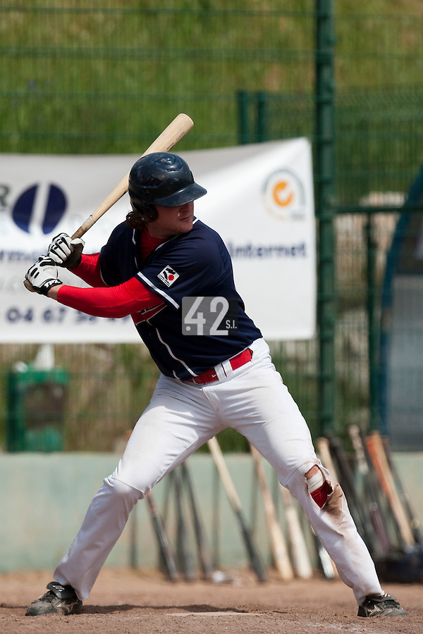 23 May 2009: Kyle Gruver of La Guerche is seen at bat during the 2009 challenge de France, a tournament with the best French baseball teams - all eight elite league clubs - to determine a spot in the European Cup next year, at Montpellier, France. Rouen wins 6-2 over La Guerche.