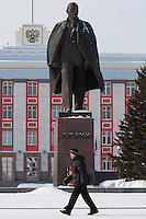 Barnaul, Altai Region, Siberia, Russia, 24/02/2011..A giant statue of Lenin in front of Barnaul city administration headquarters.
