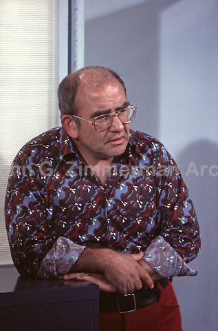 Ed Asner rehearses scene from Mary Tyler Moore Show, Season Four, 1974, Sound Stage 2, CBS Studios, Los Angeles.