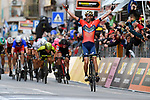 Vincenzo Nibali (ITA) Bahrain-Merida wins the 109th edition of Milan-Sanremo 2018 running 294km from Milan to Sanremo, Italy. 17th March 2018.<br /> Picture: LaPresse/Marco Alpozzi | Cyclefile<br /> <br /> <br /> All photos usage must carry mandatory copyright credit (© Cyclefile | LaPresse/Marco Alpozzi)